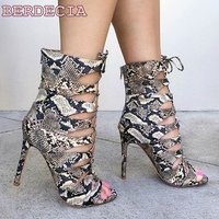 Top Selling Young Women Snakeskin Leather Ankle Boots Lace Up Sandal Boots High Heel Cut Outs