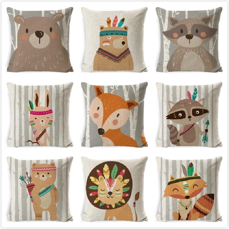 Tribe Woodland Animal Cushion Cover  Bear Fox Print Linen Pillow Case Decorative For Chair Sofa Home Decor Throw Pillowcase