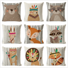 Tribe Woodland Animal Cushion Cover  Bear Fox Print Linen  Pillow Case Decorative For Chair Sofa Home Decor Throw Pillowcase