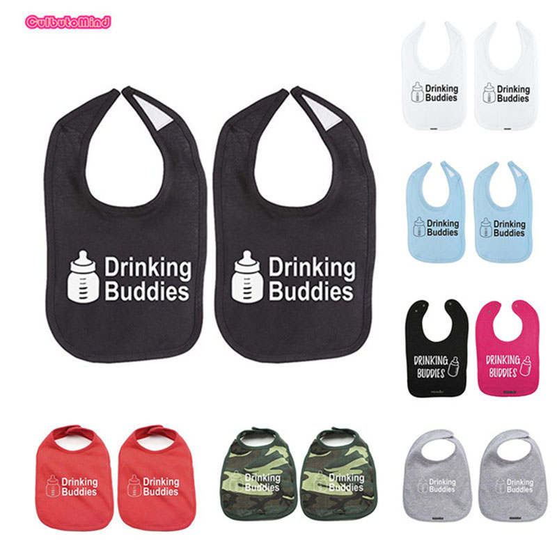 Culbutomind 2018 Milk Drinking Buddies Twin Set Unisex Newborn Baby Soft 100% Cotton Bibs Free S