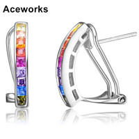 Aceworks Colorful Cubic Zirconia 100% Real 925 Sterling Silver Earrings Wedding Jewelry Women Gift Jewelry Fashion Stud Earring