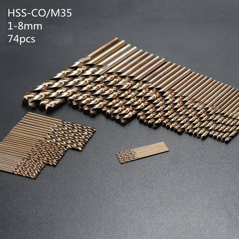 74pcs/Set 1MM-8MM Twist Drill Hole M35 Cobalt High Speed Steel Tool Set Whole Ground Metal Reamer Tools Plastic Box sheffield high quality drill bit set high speed steel with co twist drill hss m35 cobalt steel alloys material 1mm 13mm