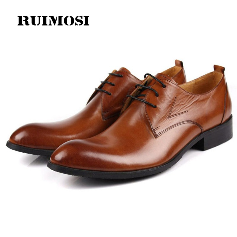 RUIMOSI Classic Formal Brand Man Dress Shoes Genuine Leather Designer Oxfords Round Toe Men's Wedding Footwear For Male CA34