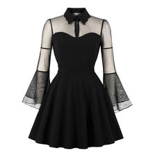 Women's Dress Fashion Long Sleeve Solid Color Punk Vintage Gothic Party Dresses Rockabilly Swing Vestido Mujer 2018 New hot M3(China)