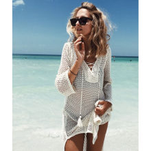 2019 See-through Vestido de Praia Nova Praia Cover Up Bikini Crochet Malha Tassel Tie Beachwear Verão Swimsuit Cover Up sexy(China)