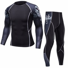 New Fitness Mens Set Compression Top + Leggings Underwear Crossfit Long Sleeve T-Shirt Apparel