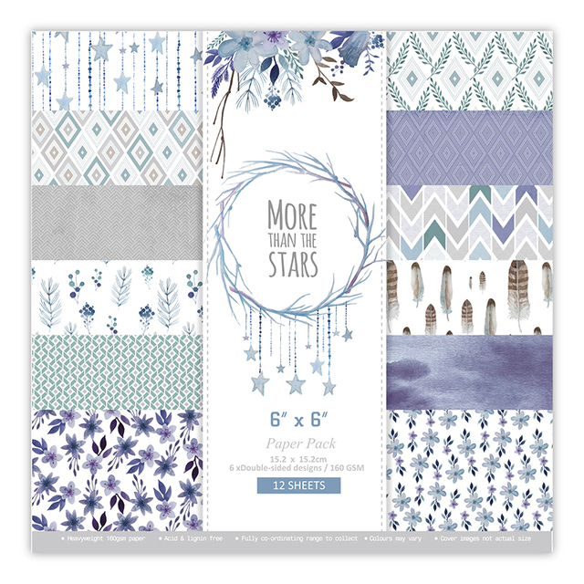 """New 6"""" Double-side MORE THAN THE STARS background paper pads patterns 12 sheets,DIY Craft Scrapbooking Paper Pack"""