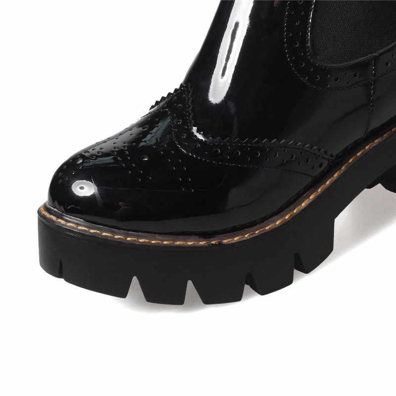 ASUMER siyah şarap kırmızı yeni gelmesi sonbahar kış kadın çizmeler platformu üzerinde kayma yarım çizmeler basit rahat yuvarlak ayak