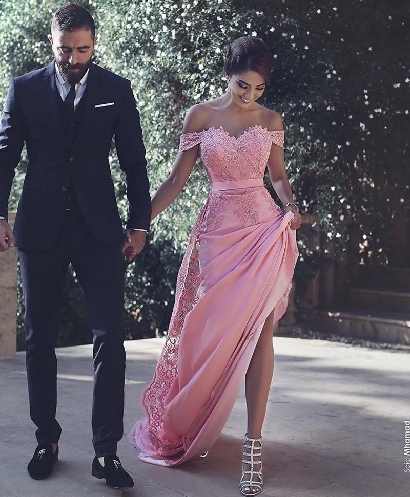 Off The Shoulder A-Line Lace Applique Satin Bridesmaid Gowns Silver/Coral/Pink Cheap Lace Satin Bridesmaid Dresses Fast Shipping