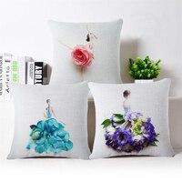 3D Flower Ballet Dress Cushion Cover 45x45cm Textile Printing Throw Pillow Cover Housse De Coussin Square