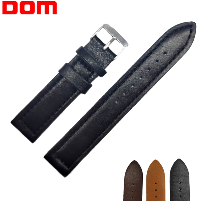 DOM Watch Band PU Leather Watch Strap Stainless Steel Buckle Clasp Watch Belt 18mm,20mm,22mm Watch Accessories Wristband Hot