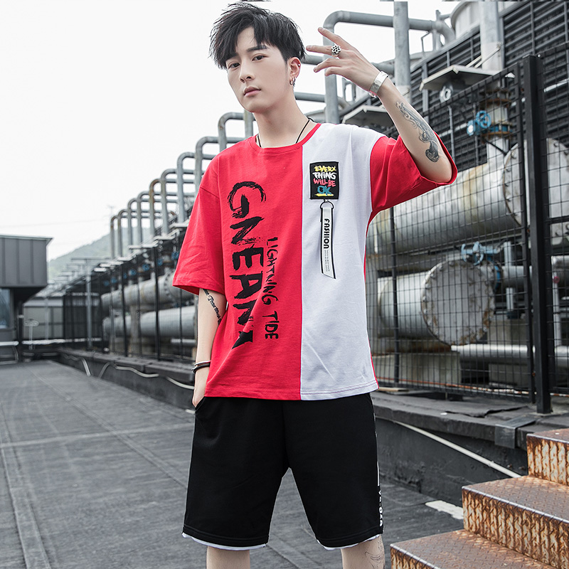 Été chaud hommes ensembles Polyester imprimer demi manches t-shirts + shorts deux pièces ensembles survêtement de sport mâle 2019 décontracté survêtement