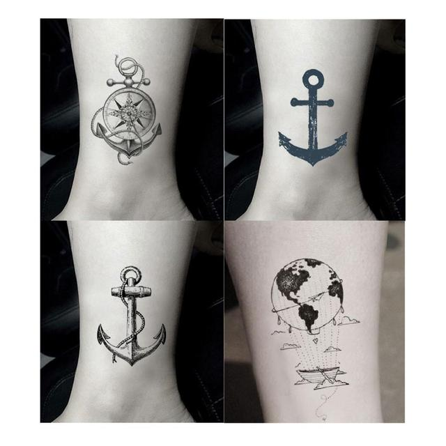 Kotwica Statek Tymczasowa Naklejka Tatuaż Wodoodporna Dla Dorosłych Mężczyzn Dla Kobiet Dziewczyny Chłopcy Nastolatków Dzieci Fałszywe Tatuaże 105x6