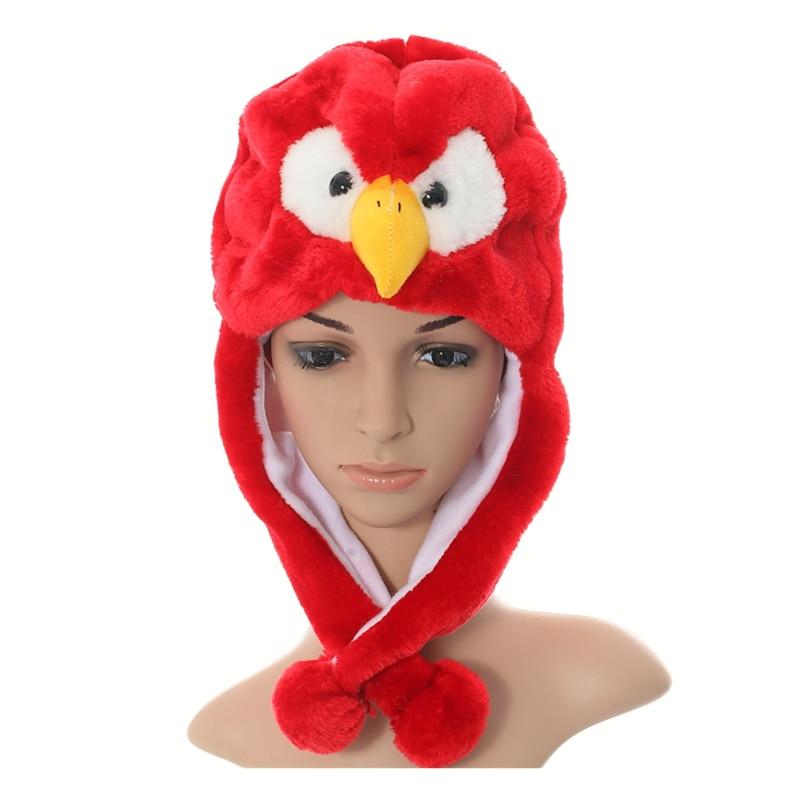 DOUBCHOW Womens Teenages Kids Girls Boy Cartoon Eapflap Animal Hats Cute Red Eagle Plush Winter Warm Beanie Cap Cosplay Gifts