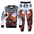 Raisevern nova moda 3D treino Jogando cartas imprimir camisola & corredores calças 2 pcs set terno hip hop novidade streetwear