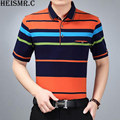 HEISMR.C 2017 New Men's Cotton Short Sleeve Polo Shirt  Mens Lapel Collar Contrast Color Casual Striped Polo Shirt Hot Tops Z176