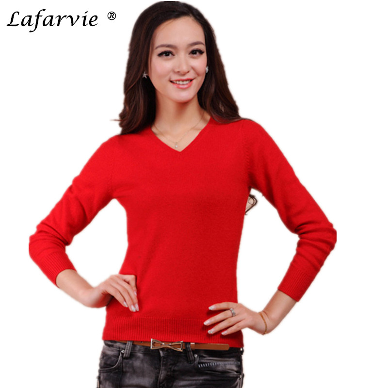 Lafarvie Cashmere Blended Gebreide trui Dames Tops Winter Warm Wollen trui Vrouw Nieuw 2019 Fashion V-hals Kleurrijke trui