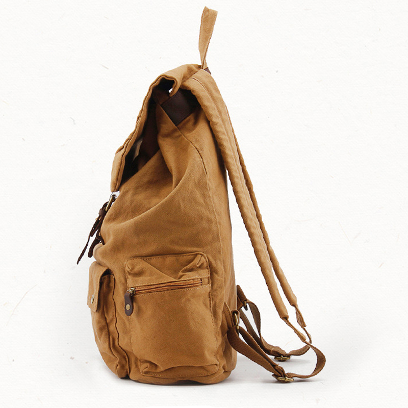 7e436258ff Jonon Fashion Vintage Leather military Canvas backpack Men s backpack  school bag drawstring backpack women bagpack male rucksack-in Backpacks  from Luggage ...
