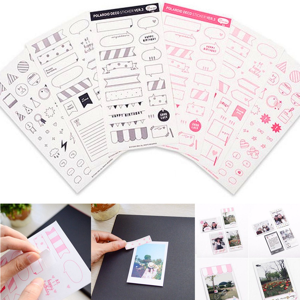 6 Sheets/lot Diy Album Sticky Notes Seal Sticker DIY Calendar Paper Sticker Scrapbooking Polaroid Diary Decoration Decal 20*10cm