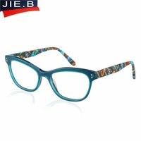 JIE. B Cat Eye Frame Mode Luxe Acetaat vrouwen brillen frame recept designer merk clear optische bijziendheid eyewear frame
