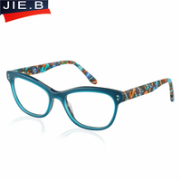 Fashion Luxury Acetate Women Eyeglasses Frame Prescription Designer Brand Clear Optical Myopia Eyewear Frame Cat Eye