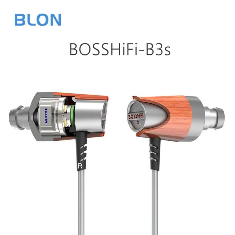 New BLON B3S 3.5mm In Ear Earphone 1BB +1BA Hybrid Drive Wood Earphone DIY HIFI Bass Wooden Earphone Headset Earplug