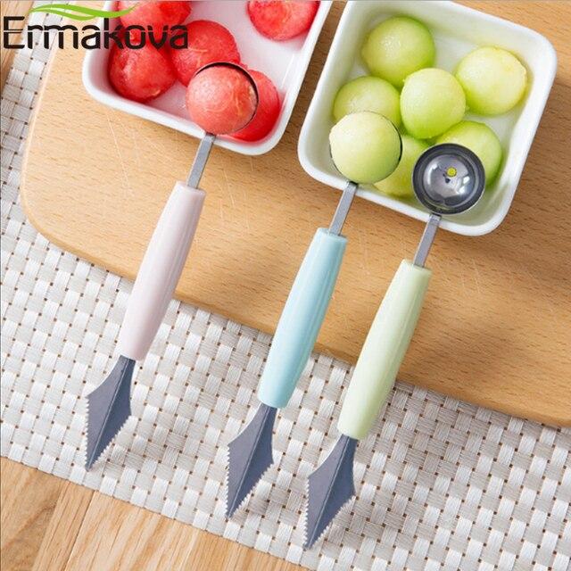 ERMAKOVA 2 In 1 Melone Baller Scoop di Frutta Intagliare Coltello Da Cucina Mult