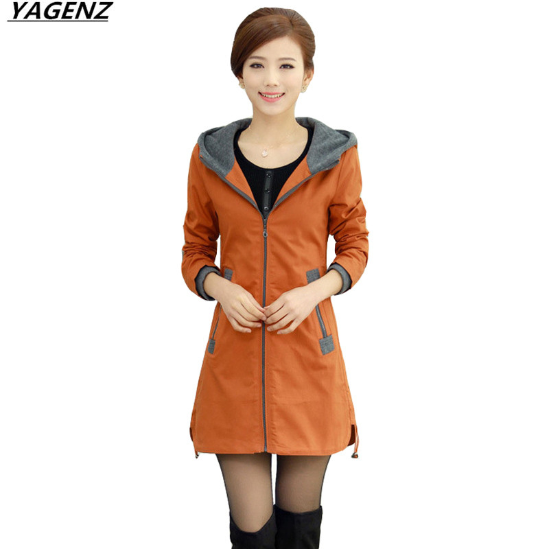 Womens Coat 2017 Autumn Spring Long   Trench   Coat Plus Size 4XL Middle-aged Mother Clothing Hooded Windbreaker Women YAGENZ K372