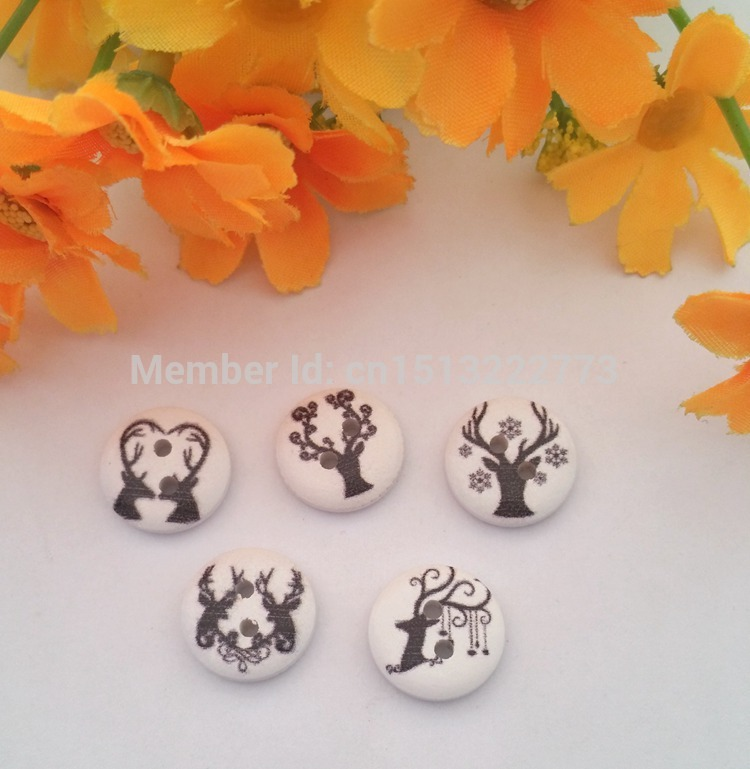 Us 5 86 15 Off 150pcs White Spray Paint Pattern 2 Holes Wooden Button Clothing Sewing Accessories Flatback Scrapbooking Craft Botoes In Buttons From