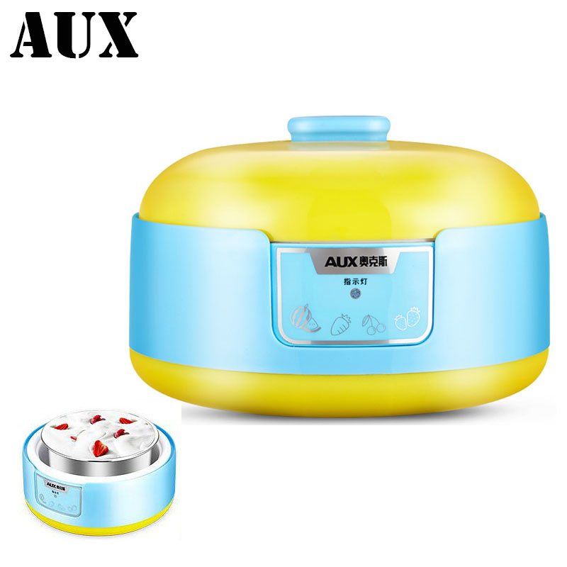 AUX 1L Capacity Household Electric multifunction Yogurt Makers Stainless Steel Liner Mini Automatic Yogurt Machine Health Safty nillkin protective pu leather pc case cover for samsung galaxy alpha g850f black
