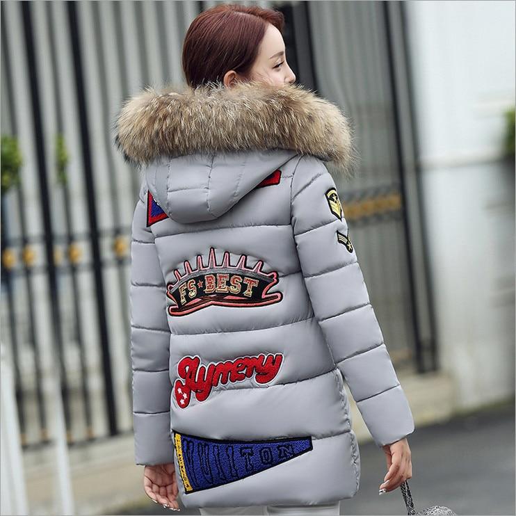 2017 new winter long section of female Korean Slim fur collar hooded down font b jacket