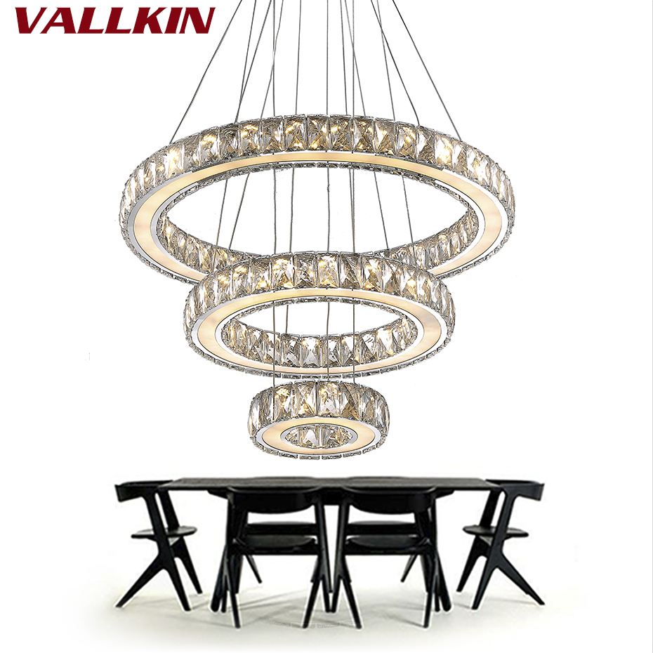 Mirror Stainless Steel Crystal Diamond Lighting Fixtures 3 Rings led Pendant Lights Cristal Dinning Decorative Hanging Lamp