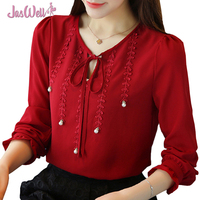 JasWell Women Chiffon Blouse Shirt Full Petal Sleeve Blusas Shirts Autumn Femme Casual Tops Slim Ladies Solid O-Neck Blouses