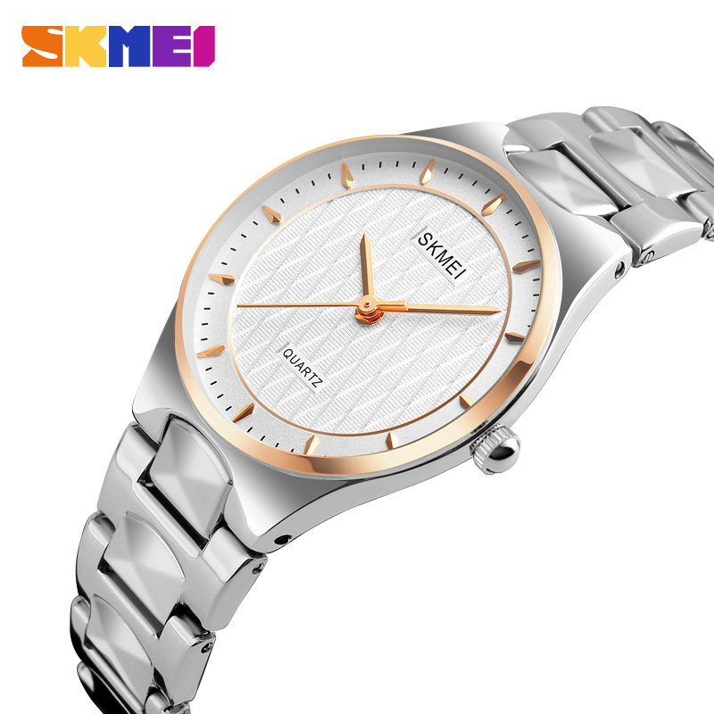 SKMEI Women's Stainless Steel Watches Luxury Silver Quartz Wristwatches Ladies Waterproof  Folding Clasp With Safety Watch Reloj