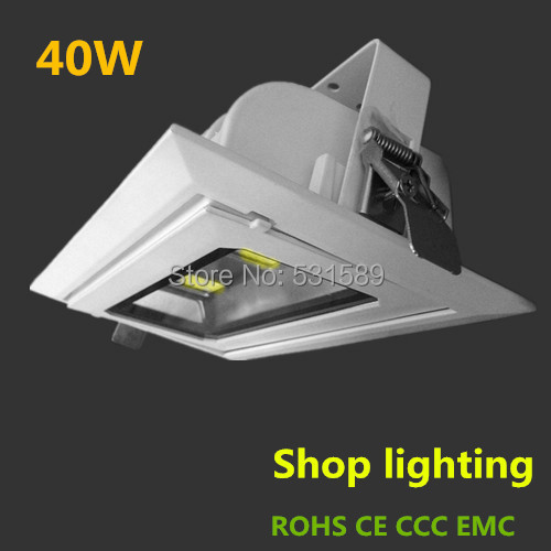 New Rotatable rectangle LED COB Downlights 40w die-cast aluminum 100%  white AC110v-240V Shop lighting CE/ROHS ip67 die cast aluminum alloy module ac100v 110v 220v 200w led high mast tunnel stadium flood light fixture