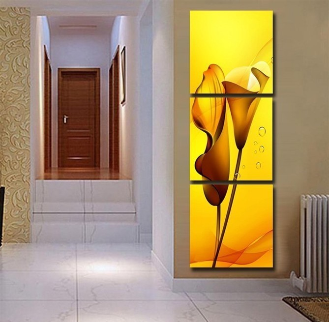 Us 18 0 3 Pieces Painting Wall Hanging Canvas Picture Paint Modern Living Room Summer Style Yellow Lily Vertical Fabric Home Decor In Painting