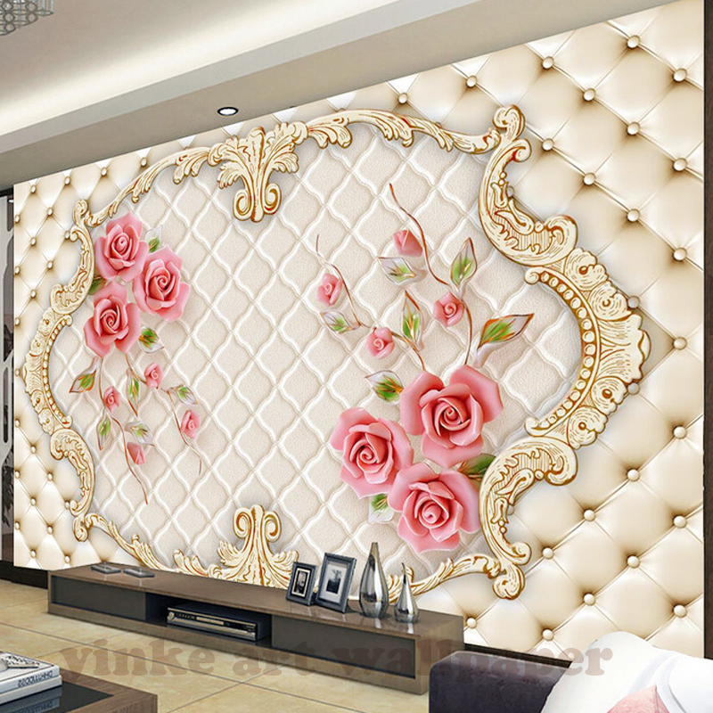 Custom Photo Wallpaper Large 3D Living Room Bedroom Sofa TV Background Wallpaper Mural Red Rose Flowers 3D Wall Mural Wallpaper