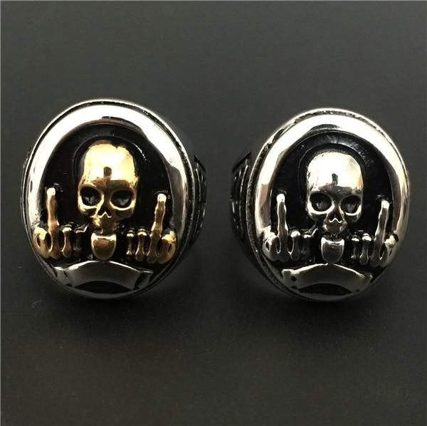 Size 7 11 Amazing Design FTW Middle Finger Skull Ring Gold