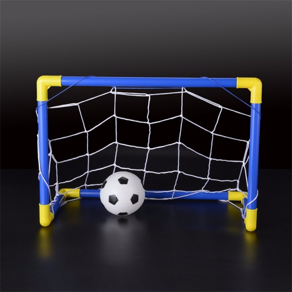 Folding Mini Football Soccer Goal Post Net Set with Pump Kids Sport Indoor Outdoor Games Toys Child Birthday Gift Plastic(China)