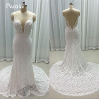 Real Image Elegant Spaghetti Straps Lace Open Back 2016 Wedding Dresses Long Mermaid Bridal Gown Vestido