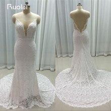 Real Image Elegant Spaghetti Straps Lace Open Back 2016 Wedding Dresses Long Mermaid Bridal Gown Vestido de Novia FW19