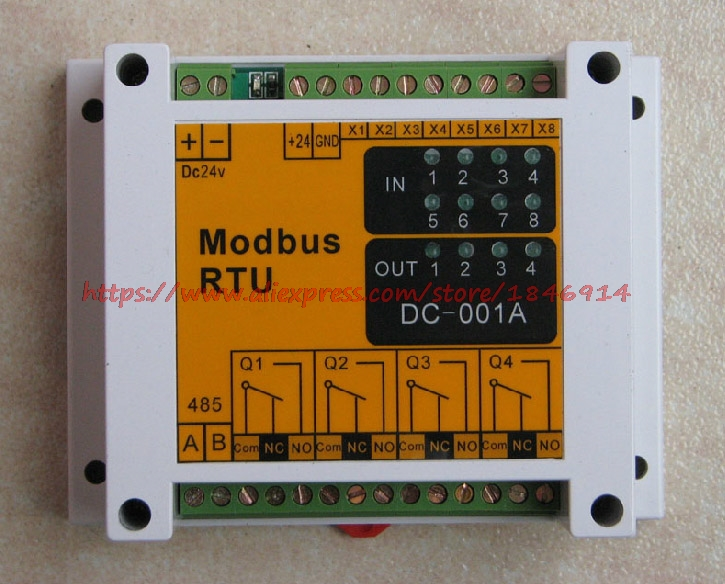 Free Shipping     Modbus Module 485 Interface 8 Input 4 Output Module Of IO Switch Module Can Communicate With PLC