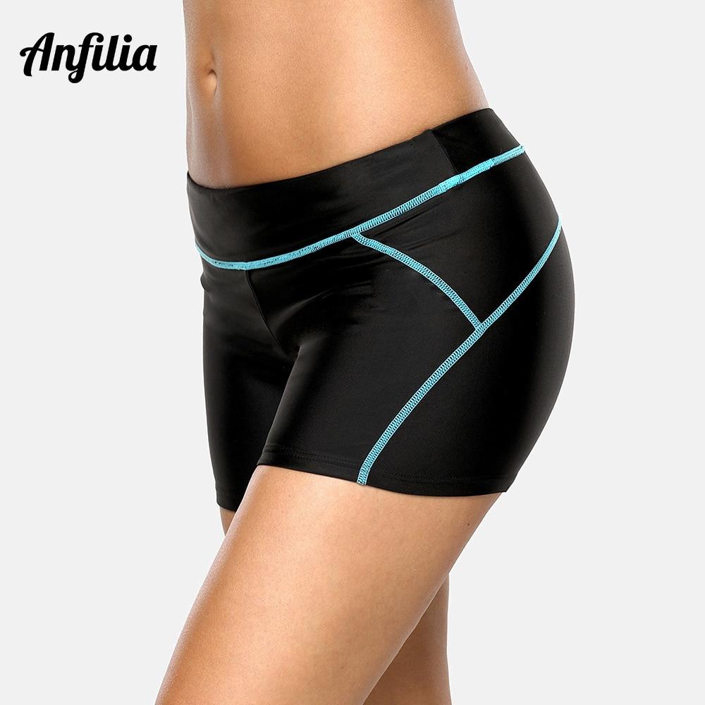 Anfilia Women's Sports Swimming Trunks Ladies Tankini Bottom Boy Shorts Patchwork Skinny Swim Shorts Swimwear Briefs