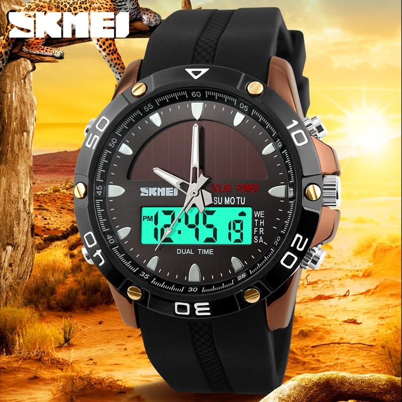 SKMEI Classic Sport Quartz Solar Watch Men Top Brand Luxury Dual Display Military Waterproof Wristwatches Reloj Hombre Deportivo