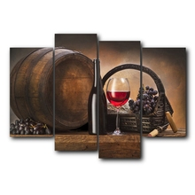 Laeacco Canvas Calligraphy Painting 4Pcs Red Wine Grapes Barrel Poster and Print Wall Artwork Living Room Home Restaurant Decor