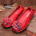 2016 New Genuine Leather Shoes Slip-On Vintage Handmade  Flower Round Toe Casual Shoes Soft  Flat Women Shoes  Large Size 35-41