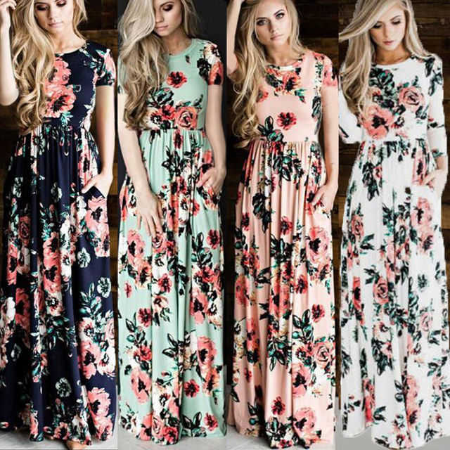 85ac6c169e1 New Women BOHO Long Party Prom Floral Summer Beach Maxi Dress Ladies Womens  Dresses Flower Print Sundress Clothing