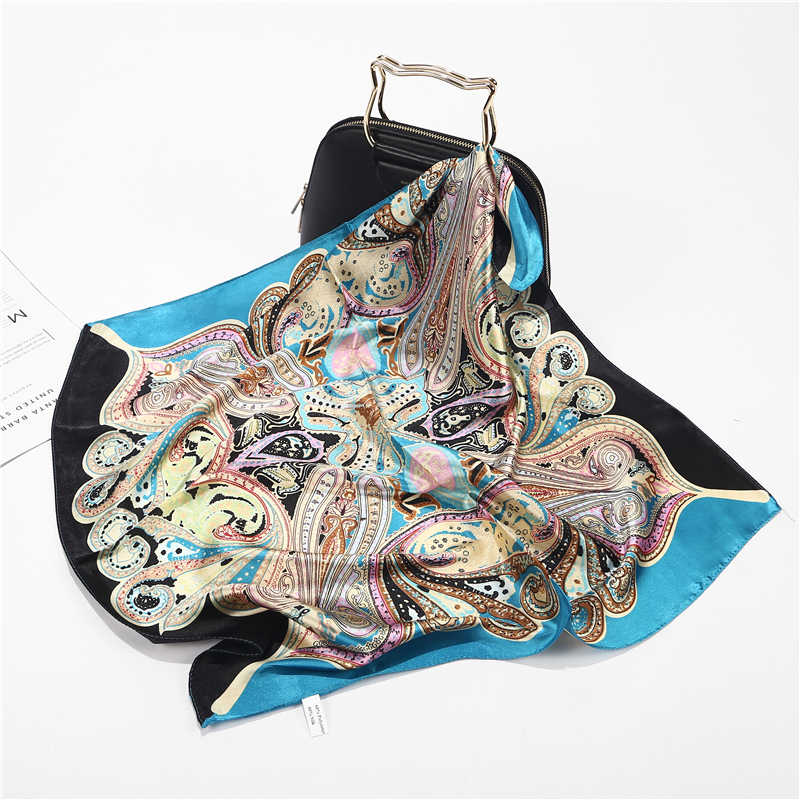 Новый летний роскошный брендовый Шелковый квадратный шарф, Женские клетчатые обертывания, РЕТРО ПРИНТ, офисные маленькие волосы на шее, хиджабы, платок 60*60 см
