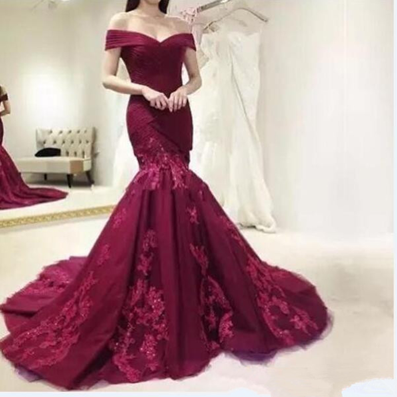 Burgundy   Evening     Dress   Prom   Dress   Mermaid Off Shoulder Lace Tulle Long New Arrival Prom   Dress   robe de soiree