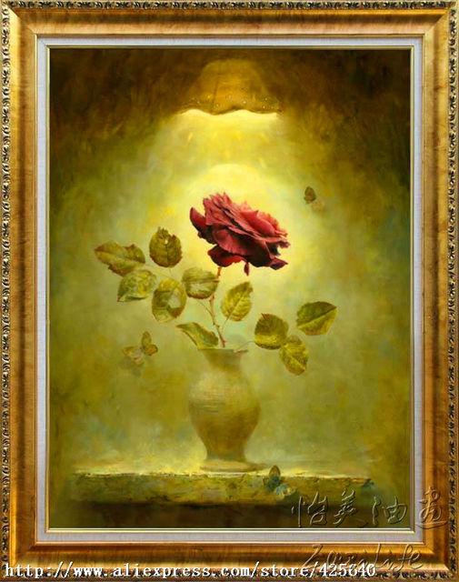 Rose Peinture A L Huile Realiste Fleur Peinture A L Huile Sur Toile